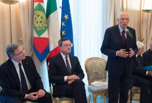 Napolitano during meeting with Council of the ECB in Naples