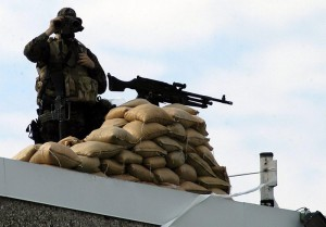 A US marine guards the US embassy in Port-au-Prince