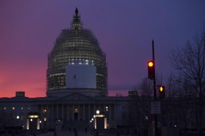 The dome of the US Capitol is seen at dusk