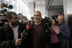 Greek Finance Minister Yannis Varoufakis arrives at the ministry in Athens