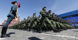 Russian soldiers march during a general rehearsal of the Victory day parade on Moscow's Red square
