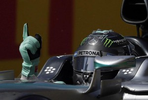 German Nico Rosberg of Mercedes celebrates after winning the Formula One Grand Prix of Spain at Montmelo