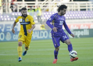 Serie A; Fiorentina-Parma. Fiorentina's Mohamed Salah in action
