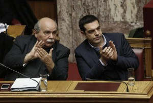 Gree Prime Minister Alexis Tsipras (R) and Interior and Administrative Reconstruction Minister Nikos Voutsis (L)