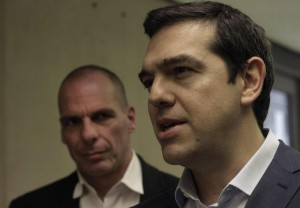 Greek Prime Minister Alexis Tsipras meets Finance Minister Yanis Varoufakis in Athens
