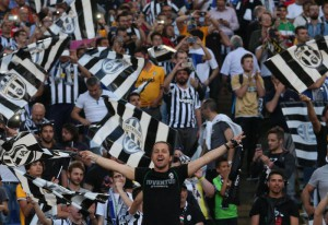 Juventus' supporters prior the Italy Cup final soccer match Juventus FC vs SS Lazio at Olimpico stadium in Rome