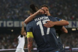 Serie A: Napoli-Cesena: Napoli's forward Dries Mertens (R) celebrates after scoring the goal of the 2-3