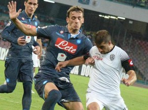 Serie A: Napoli-Cesena: Naspoli's miedfielder Manolo Gabbiadini fight for the ball with ACesena's forward Franco Brienza