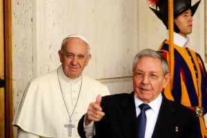 Pope Francis with Cuban President Raul Castro at the end of their private audience in Vatican