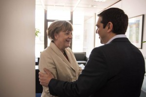 German Chancellor Angela Merkel meets Greek Prime Minister Alexis Tsipras in Brussels