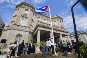Cuban Flag Raised Outside Cuban Embassy