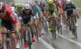 Italy's Vincenzo Nibali, center in blue rides