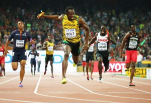 Jamaica's Usain Bolt brings home gold in the 4x100m men relay during the Beijing 2015 IAAF World Championships at the National Stadium, also known as Bird's Nest, in Beijing, China, 29 August 2015.  EPA/SRDJAN SUKI