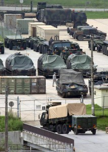 Military trucks and other mobility equipment ready at a US Army unit in Dongducheon, northeast of Seoul, amid heightened tensions between the two Koreas, South Korea, 21 August 2015. EPA/YONHAP SOUTH KOREA OUT