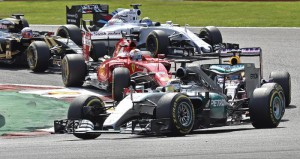 Mercedes driver Lewis Hamilton of Britain leading at the first corner during the Belgium Formula One Grand Prix at the Spa-Francorchamps circuit, Belgium, Sunday, Aug. 23, 2015. (ANSA/AP Photo/Martin Meissner)