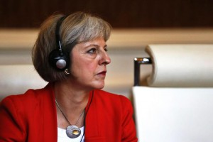 English Interior Minister, Theresa May, attends an emergency meeting on border cooperation at the French Interior Ministry, Place Beauvau in Paris, France, 29 August 2015.  EPA/ETIENNE LAURENT
