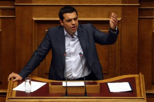 Greek Prime Minister Alexis Tsipras gestures as he adresses the parliament, in Athens, Greece, 14 August 2015.  ANSA/ALEXANDROS VLACHOS