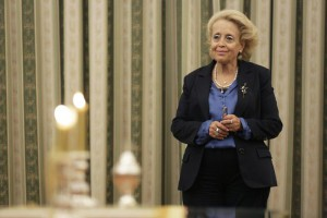 Caretaker Prime Minister Vassiliki Thanou takes part a swearing in ceremony at the Presidential Palace in Athens, Friday, Aug. 28, 2015.  Greece's new caretaker government, led by the nation's first female prime minister (ANSA/AP Photo/Petros Giannakouris)