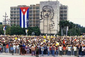 25 Jan 1997, Havana, Cuba --- A large crowd of Cubans wait for Pope John Paul II in Havana. He was the first pope ever to visit the Caribbean's largest island. --- Image by © Kim Kulish/CORBIS