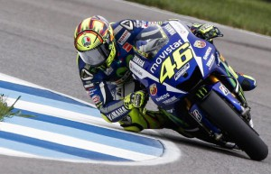 MotoGP rider Valentino Rossi of Italy during a qualifying session for the Indianapolis Motorcycling Grand Prix motorcycle race at the Indianapolis Motor Speedway in Indianapolis, Indiana, USA, 08 August 2015.  EPA/TANNEN MAURY