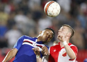 Bojan Nastic of Vojvodina (R) vies for the ball with of Luis Muriel of Sampdoria during the UEFA Europa League qualifier match between Vojvodina and Sampdoria in Novi Sad, Serbia, 06 August 2015.  EPA/KOCA SULEJMANOVIC