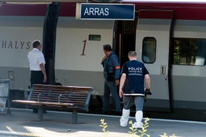 Police arrive at a Thalys train at Arras train station in Arras, France, 21 August 2015. EPA/PASCAL BONNIERE FRANCE OUT, CORBIS OUT