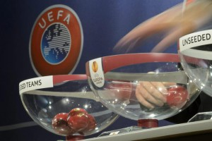 UEFA General Secretary Gianni Infantino draws balls during the draw of the play-offs games of UEFA Europa League 2013/14 at the UEFA Headquarters in Nyon, Switzerland, Friday, August 9, 2013.  EPA/LAURENT GILLIERON