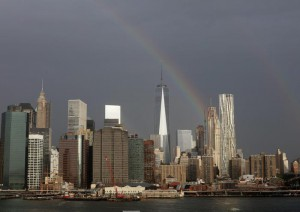 A rainbow over the One world trade center (Freedom Tower) and lower Manhattan in New York, New York, USA, 10 September 2015.  EPA/ANDREW GOMBERT