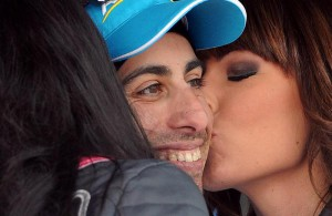 Italian rider Fabio Aru of the Astana Pro team icelebrates on the podium following his winning in the 20th stage of the 98th Giro d'Italia cycling tour over199 km from Saint-Vincent to Sestrieres, 29 May 2015. ANSA/DANIEL DAL  ZENNARO