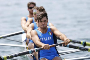 Giuseppe Vicino, Matteo Lodo, Matteo Castaldo and Marco di Costanzo (from front) of Italy in action during the men's four race at the Rowing World Cup on Lake Rotsee in Lucerne, Switzerland, Saturday, July 11, 2015.  EPA/PETER KLAUNZER