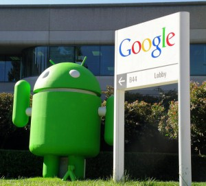 A giant green robot, mascot of Google's operating system 'Android', pictured outside the headquarters of internet giant Google in Mountain View, CA, United States, in March 2009. Google defied the golbal economic crisis and reports a boost in sales for Q1 of 2009. Photo: Christof Kerkmann