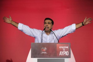 Syriza left-wing party leader and former Prime Minister Alexis Tsipras gestures as he delivers a pre-election speech to his supporters at Syntagma square in central Athens, Friday, Sept. 18, 2015.  (ANSA/AP Photo/Lefteris Pitarakis)