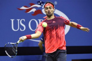 Fabio Fognini of Italy hits a return against Rafael Nadal of Spain during their match on the fifth day of the 2015 US Open Tennis Championship at the USTA National Tennis Center in Flushing Meadows, New York, USA, 04 September 2015.  EPA/JOHN G. MABANGLO