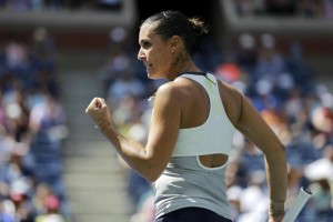 Flavia Pennetta, of Italy, reacts between points against Petra Kvitova, of the Czech Republic, during a quarterfinal match at the U.S. Open tennis tournament, Wednesday, Sept. 9, 2015, in New York. (ANSA/AP Photo/David Goldman)