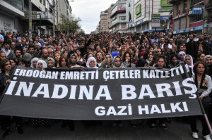"People hold a banner that reads "" Erdogan ordered, gangs killed "" as they protest an explosion that killed scores of people in Ankara, in Istanbul, Turkey, Saturday, Oct. 10, 2015.  (ANSA/AP Photo)"