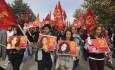 Protesters carrying pictures of people killed in Saturday's bombing attacks, walk during a march in Ankara, Turkey, Sunday, Oct. 11, 2015.  (ANSA/AP Photo/Burhan Ozbilici)