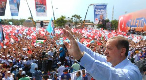 Turkish Prime Minister and Presidential candidate Recep Tayyip Erdogan acknowledged cheers of supporters during an election rally in Konya, Turkey, 09 August 2014.