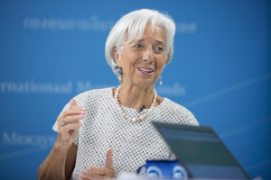 A handout photograph made available by the International Monetary Fund showing International Monetary Fund (IMF) Managing Director Christine Lagarde answering questions during a virtual press conference in the IMF studio at the IMF Headquarters In Washington, DC., USA, 29 July 2015.  EPA/STEPHEN JAFFE / INTERNATIONAL MONETARY FUND / H