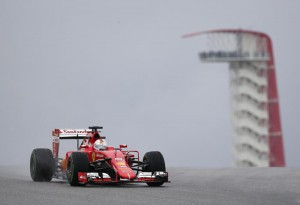 Ferrari driver Sebastian Vettel, of Germany, steers his car during the first practice session for the Formula One U.S. Grand Prix auto race at the Circuit of the Americas, Friday, Oct. 23, 2015, in Austin, Texas. (ANSA/AP Photo/John Locher)