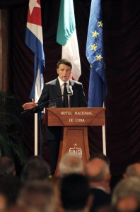 Italian Prime Minister Matteo Renzi (L) speaks during the inauguration of the business forum Cuba-Italy in Havana, Cuba, 28 October 2015. Renzi is on an official visit to the island.  EPA/ERNESTO MASTRASCUSA