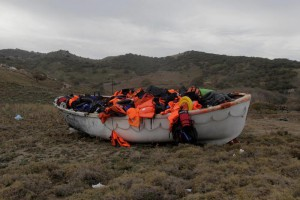 A boat is full of life jackets that migrants and refugees used on their travel to the Greek island of Lesbos (Lesvos), Greece, 16 November 2015 .  EPA/ORESTIS PANAGIOTOU
