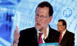 Spanish Prime Minister and candidate Mariano Rajoy speaks during the last election campaign event in Valencia, Spain, 18 December 2015. EPA/MANU BRUQUE