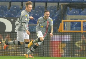 Alessandria's Manuel Marras (r) exults with teammates after scoring the goal of 0-1 during the Italian Cup quarter round soccer match Genoa Cfc vs Us Alessandria at Luigi Ferraris stadium in Genoa, Italy, 15 december 2015. ANSA/ LUCA ZENNARO