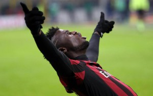 Ac Milan forward M'baye Niang celebrates after scoring the lead of 3 to 0 during the Italian Serie A soccer match between AC Milan and Uc Sampdoria  at Giuseppe Meazza stadium in Milan, 28 november  2015.  ANSA / MATTEO BAZZI