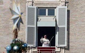 Pope Francis during the Angelus prayer at St. Peter's Square, Vatican City, 26 December 2015.  ANSA/ALESSANDRO DI MEO