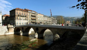 A photo dated 07 November 2013 shows the 'Latin Bridge' in Sarajevo, Bosnia and Herzegovina, where Gavrilo Princip on 28 June 1914 assassinated the Archduke Franz Ferdinand of Austria, heir to the Austro-Hungarian throne, and his wife, Sophie, Duchess of Hohenberg. EPA/FEHIIM DEMIR