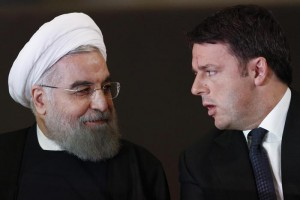 President of the Islamic Republic of Iran Hassan Rowhani (L) and Italian Prime Minister, Matteo Renzi, during their meeting at Campidoglio Palace in Rome, Italy, 25 January 2016. ANSA/GIUSEPPE LAMI