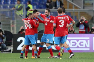 Napoli's José María Callejón (C) jubilates after scoring the goal of the 0-2 during the Italian Serie A soccer match SS Lazio vs SSC Napoli at Olimpico stadium in Rome, Italy, 3 February 2016.  ANSA/ALESSANDRO DI MEO