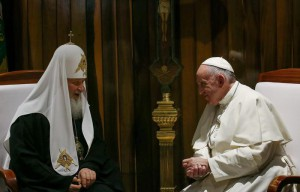 Pope Francis (R) and the Patriarch Kirill of Moscow and All Russia, meet at Jose Marti international airport, in Havana, Cuba, 12 February 2016. EPA/ALESSANDRO DI MEO