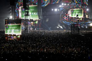 Thousands gather at the Ciudad Deportiva as the Rolling Stones perform in Havana, Cuba, Friday March 25, 2016. The Stones are performing in a free concert in Havana Friday, becoming the most famous act to play Cuba since its 1959 revolution. (ANSA/AP Photo/Ramon Espinosa)